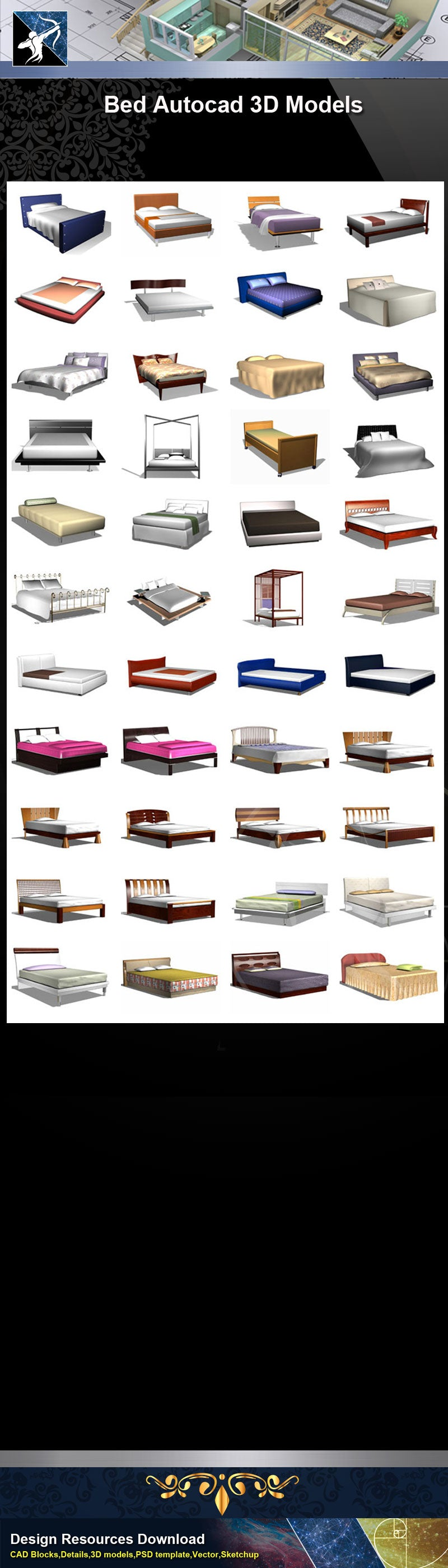 ★AutoCAD 3D Models-Bed Autocad 3D Models