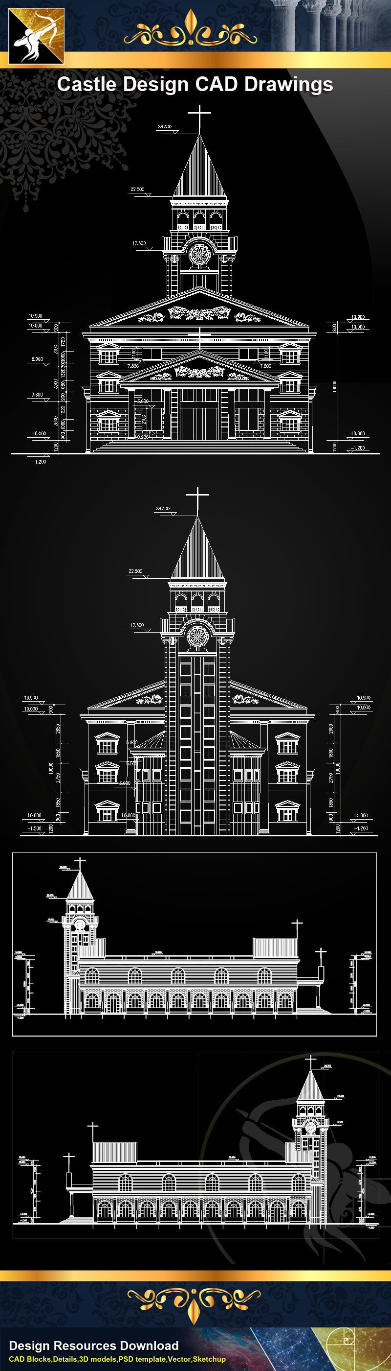 Church Elevation Plan : Church design cad drawings