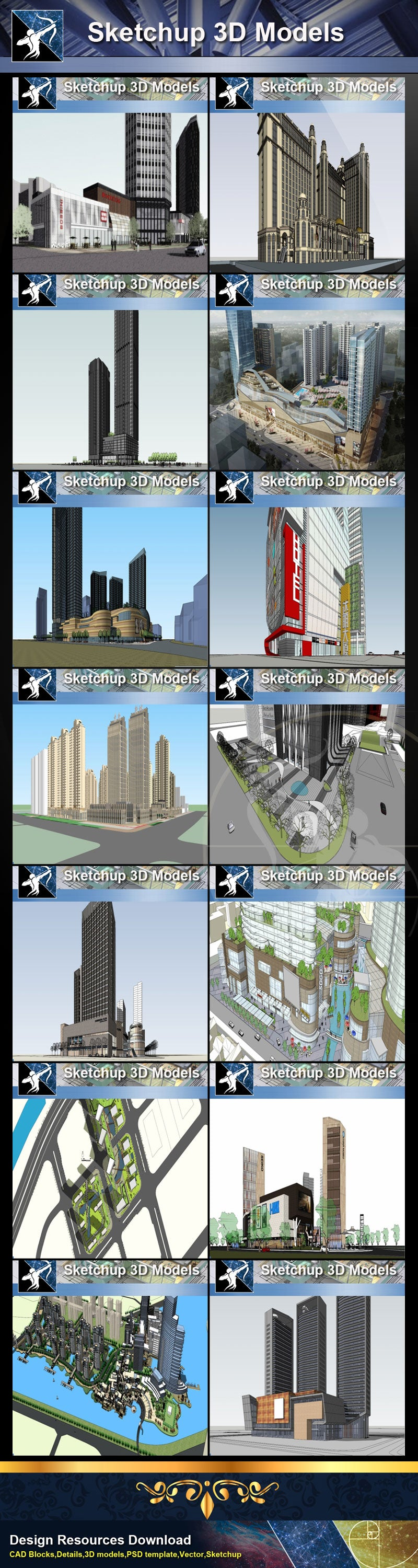 ★Best 28 Types of Residential and Business Building Sketchup 3D Models Collection(Recommanded!!)