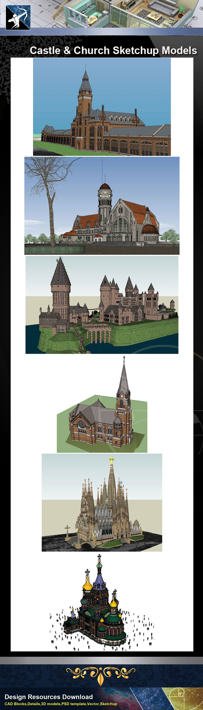 ★Sketchup 3D Models-Castle and Church Sketchup Models