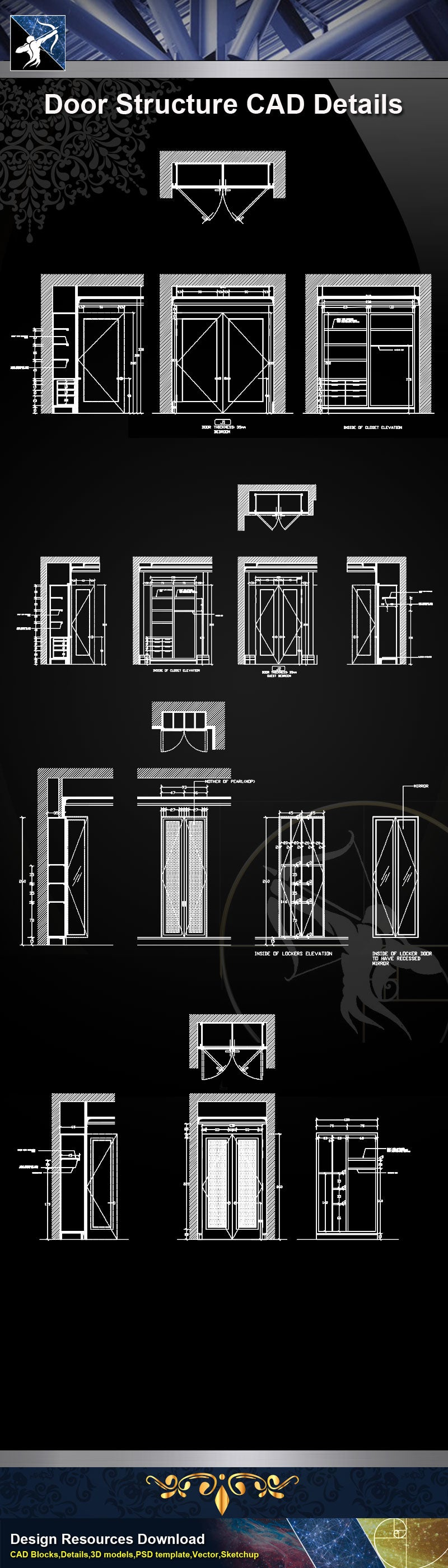 【Door Details】Door Structure Details-Door Details, Door CAD Details,Door plan,Door elevation-Architecture Details,CAD Details,Construction Details and Drawings