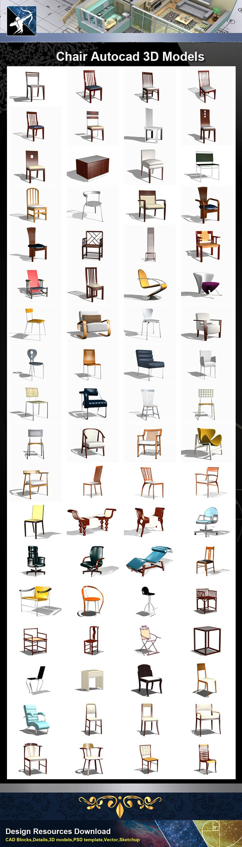 ★AutoCAD 3D Models-Chair Autocad 3D Models