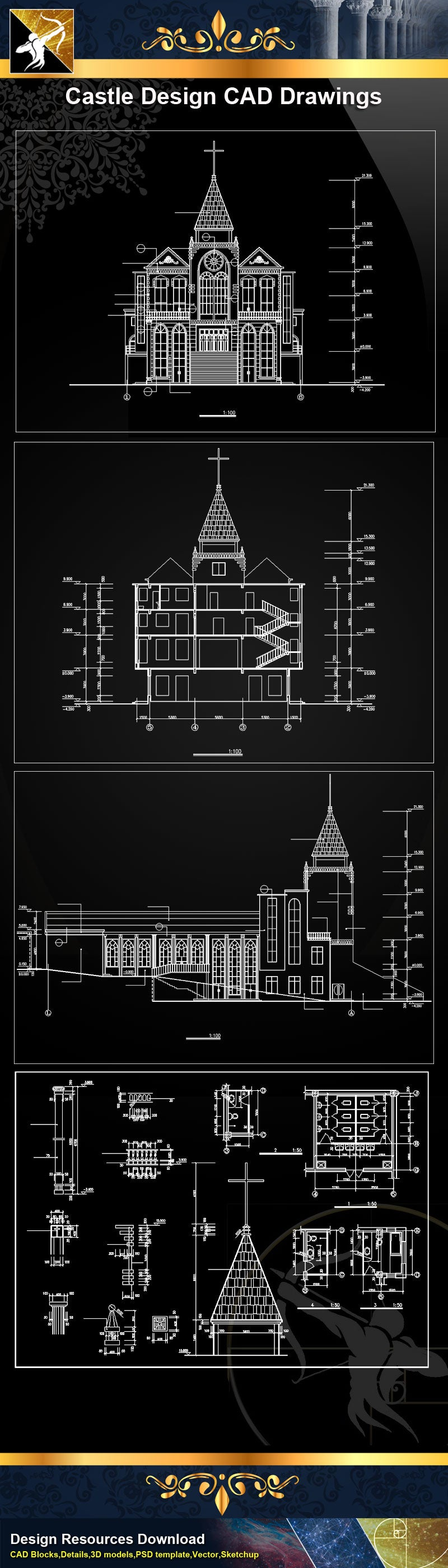Church Plan,elevation,Details CAD Drawings