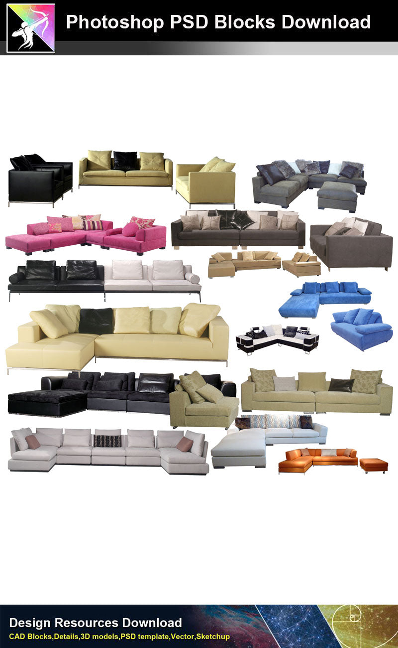 【Photoshop PSD Blocks】Sofa & Chair PSD Blocks V.3