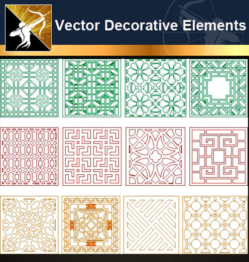 ★Vector Decoration Design Elements V.30-Download Illustration AI Vector Files - Architecture Autocad Blocks,CAD Details,CAD Drawings,3D Models,PSD,Vector,Sketchup Download