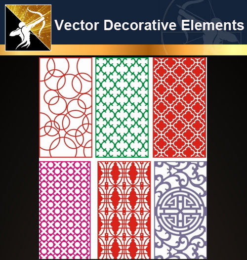 ★Vector Decoration Design Elements V.31-Download Illustration AI Vector Files - Architecture Autocad Blocks,CAD Details,CAD Drawings,3D Models,PSD,Vector,Sketchup Download