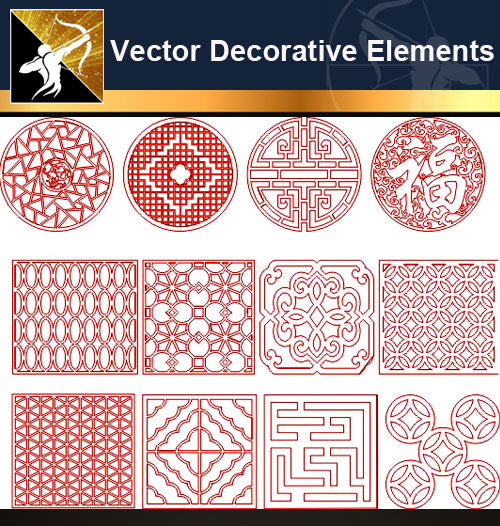 ★Vector Decoration Design Elements V.29-Download Illustration AI Vector Files - Architecture Autocad Blocks,CAD Details,CAD Drawings,3D Models,PSD,Vector,Sketchup Download