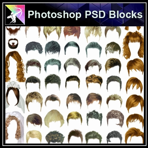 ★★PSD Design Elements-Man and Women Hair Design V.1