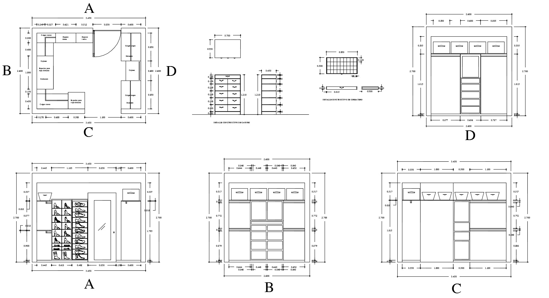 Interior Design Cad Drawings】 Wardrobe Detail And Section