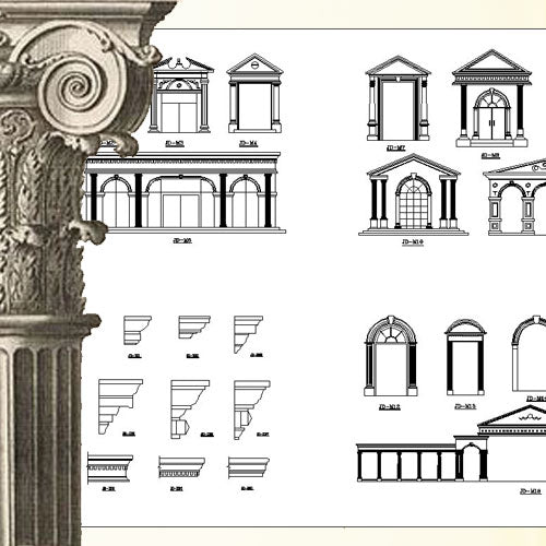 Ornamental Parts of Architecture -☆Architectural Decorative CAD Blocks☆ V.20 - Architecture Autocad Blocks,CAD Details,CAD Drawings,3D Models,PSD,Vector,Sketchup Download