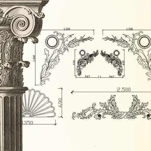 Ornamental Parts of Architecture -☆Architectural Decorative CAD Blocks☆ V.4 - Architecture Autocad Blocks,CAD Details,CAD Drawings,3D Models,PSD,Vector,Sketchup Download