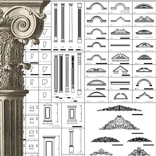 Ornamental Parts of Architecture -☆Architectural Decorative CAD Blocks☆ V.17 - Architecture Autocad Blocks,CAD Details,CAD Drawings,3D Models,PSD,Vector,Sketchup Download