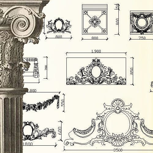 Ornamental Parts of Architecture -☆Architectural Decorative CAD Blocks☆ V.2 - Architecture Autocad Blocks,CAD Details,CAD Drawings,3D Models,PSD,Vector,Sketchup Download