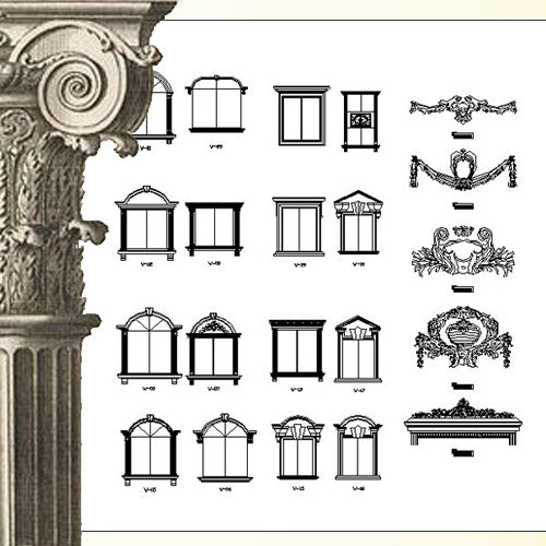 Ornamental Parts of Architecture -☆Architectural Decorative CAD Blocks☆ V.26 - Architecture Autocad Blocks,CAD Details,CAD Drawings,3D Models,PSD,Vector,Sketchup Download