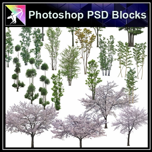 ★Photoshop PSD Landscape Blocks-Trees Blocks V.2 - Architecture Autocad Blocks,CAD Details,CAD Drawings,3D Models,PSD,Vector,Sketchup Download