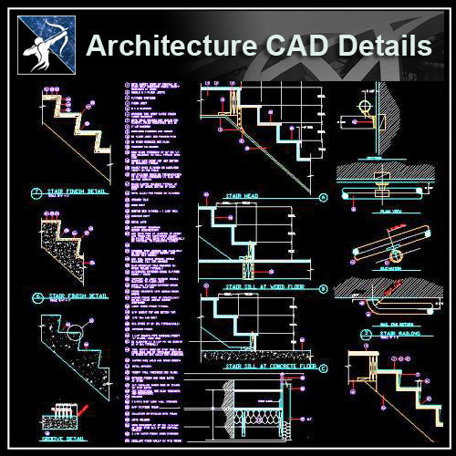 【Architecture Details】Stair Details - Architecture Autocad Blocks,CAD Details,CAD Drawings,3D Models,PSD,Vector,Sketchup Download