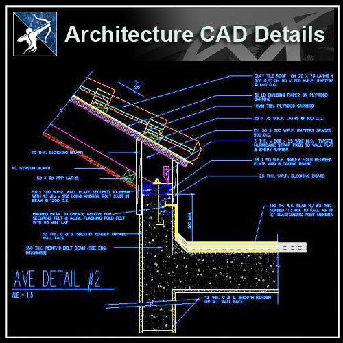 【Architecture Details】Ridge Eave & Parapet Details - Architecture Autocad Blocks,CAD Details,CAD Drawings,3D Models,PSD,Vector,Sketchup Download