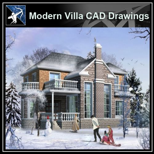 ★Modern Villa CAD Plan,Elevation Drawings Download V.5