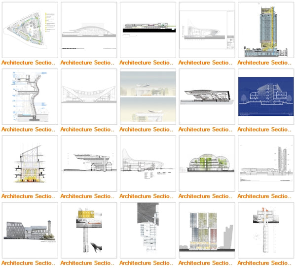 Architecture Sections Gallery V4 - Architecture Autocad Blocks,CAD Details,CAD Drawings,3D Models,PSD,Vector,Sketchup Download