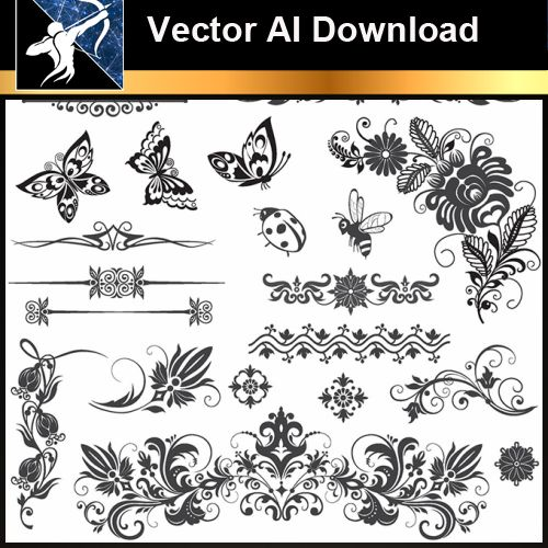 ★Vector Download AI-Floral Design Elements Vector V.10 - Architecture Autocad Blocks,CAD Details,CAD Drawings,3D Models,PSD,Vector,Sketchup Download