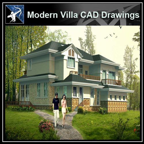 ★Modern Villa CAD Plan,Elevation Drawings Download V.30 - Architecture Autocad Blocks,CAD Details,CAD Drawings,3D Models,PSD,Vector,Sketchup Download