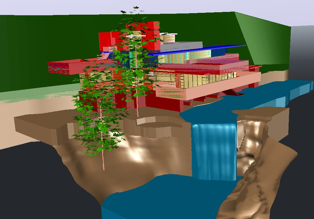 【Famous Architecture Project】Falling Water 3D CAD Drawings-Architectural 3D CAD model