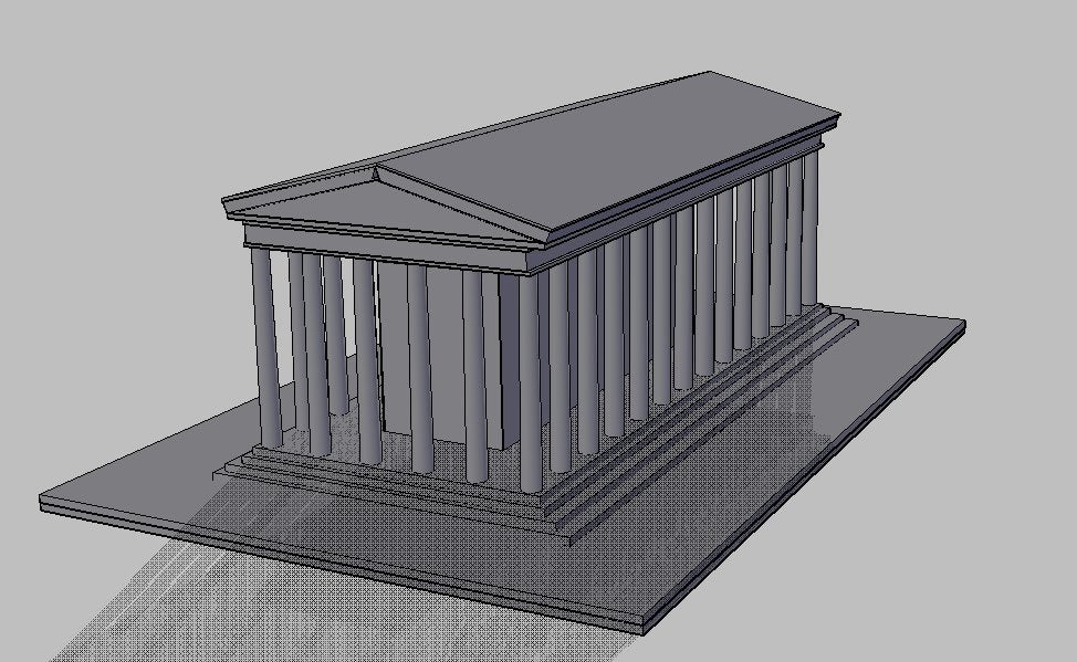 【Famous Architecture Project】Greek temple CAD Drawing-Architectural 3D model
