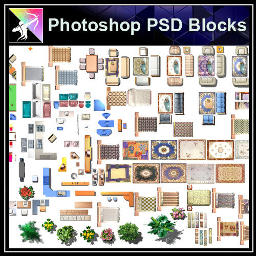 ★Interior Design Plan Photoshop PSD Blocks V.12