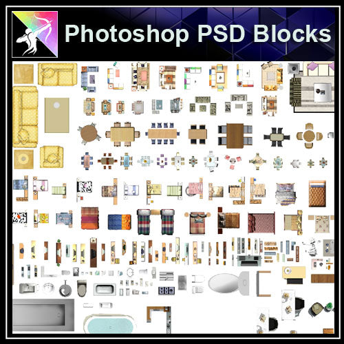 ★Interior Design Plan Photoshop PSD Blocks V.13 - Architecture Autocad Blocks,CAD Details,CAD Drawings,3D Models,PSD,Vector,Sketchup Download