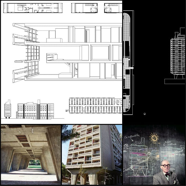 【World Famous Architecture CAD Drawings】Unité d'Habitation-Le Corbusier - Architecture Autocad Blocks,CAD Details,CAD Drawings,3D Models,PSD,Vector,Sketchup Download
