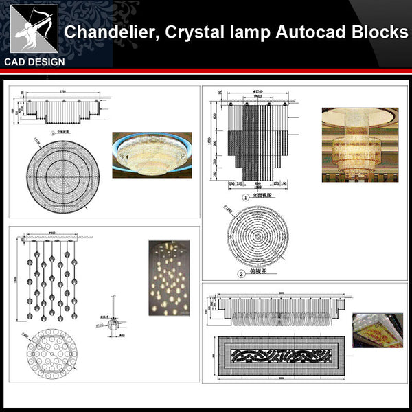 ★【 Modern crystal headlights,Chandelier, Crystal lamp Autocad Blocks】-All kinds of Autocad Blocks Collection - Architecture Autocad Blocks,CAD Details,CAD Drawings,3D Models,PSD,Vector,Sketchup Download