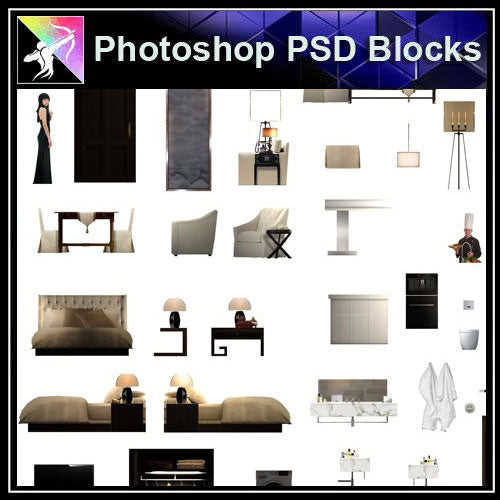 【Photoshop PSD Blocks】Interior Design PSD Blocks 3 - Architecture Autocad Blocks,CAD Details,CAD Drawings,3D Models,PSD,Vector,Sketchup Download