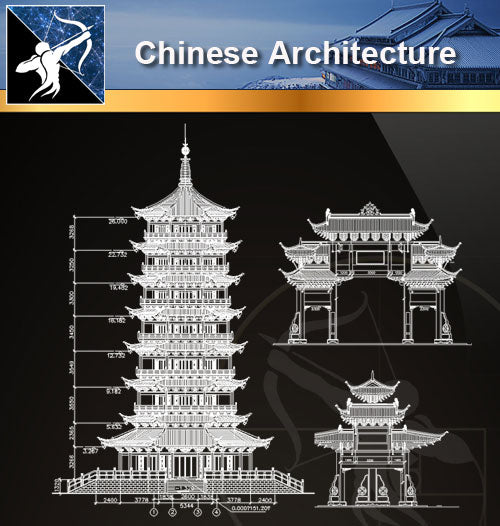 ★Chinese Architecture CAD Drawings-Tower,Temple