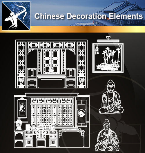 ★Chinese Decoration Elements - Architecture Autocad Blocks,CAD Details,CAD Drawings,3D Models,PSD,Vector,Sketchup Download