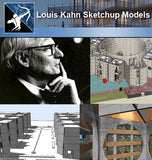 ★Famous Architecture -7 Kinds of Louis Kahn Sketchup 3D Models - Architecture Autocad Blocks,CAD Details,CAD Drawings,3D Models,PSD,Vector,Sketchup Download