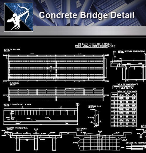 【Concrete Details】Concrete Bridge Detail - Architecture Autocad Blocks,CAD Details,CAD Drawings,3D Models,PSD,Vector,Sketchup Download