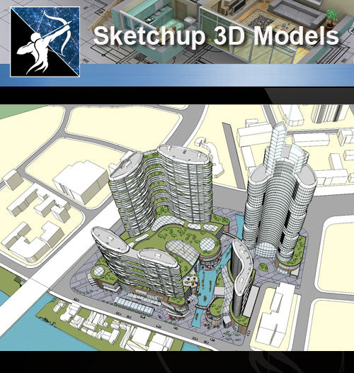 ★Sketchup 3D Models-Business Building Sketchup Models 21 - Architecture Autocad Blocks,CAD Details,CAD Drawings,3D Models,PSD,Vector,Sketchup Download