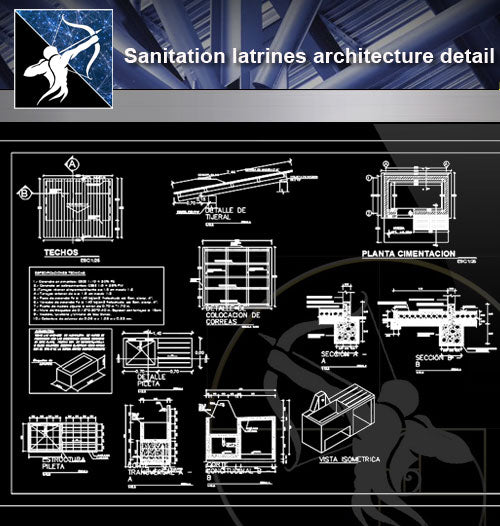 【Sanitations Details】Sanitation latrines architecture detail - Architecture Autocad Blocks,CAD Details,CAD Drawings,3D Models,PSD,Vector,Sketchup Download
