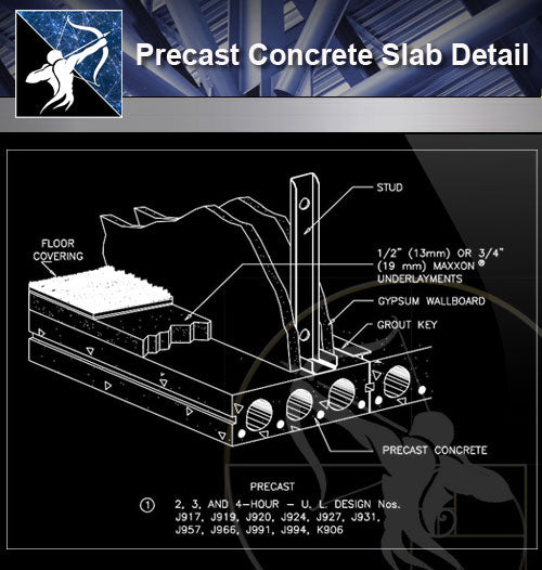 【Free Architecture Details】Precast Concrete Slab Detail - Architecture Autocad Blocks,CAD Details,CAD Drawings,3D Models,PSD,Vector,Sketchup Download