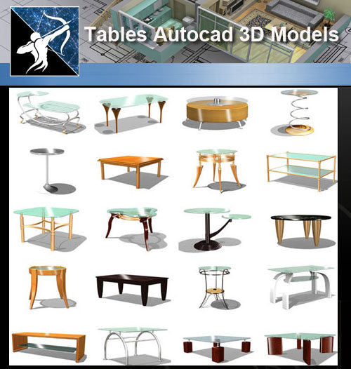 ★AutoCAD 3D Models-Tables Autocad 3D Models - Architecture Autocad Blocks,CAD Details,CAD Drawings,3D Models,PSD,Vector,Sketchup Download
