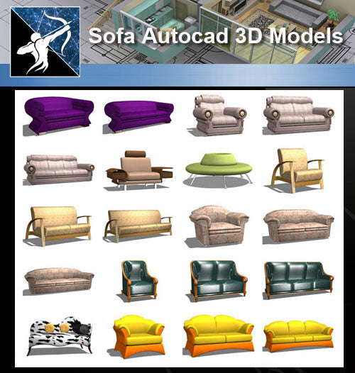 ★AutoCAD 3D Models-Sofa Autocad 3D Models - Architecture Autocad Blocks,CAD Details,CAD Drawings,3D Models,PSD,Vector,Sketchup Download