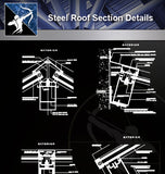 【Steel Structure Details】Steel Roof Section Details - Architecture Autocad Blocks,CAD Details,CAD Drawings,3D Models,PSD,Vector,Sketchup Download