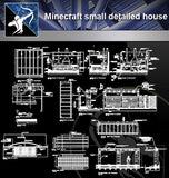 【Architecture Details】Minecraft small detailed house(Good) - Architecture Autocad Blocks,CAD Details,CAD Drawings,3D Models,PSD,Vector,Sketchup Download
