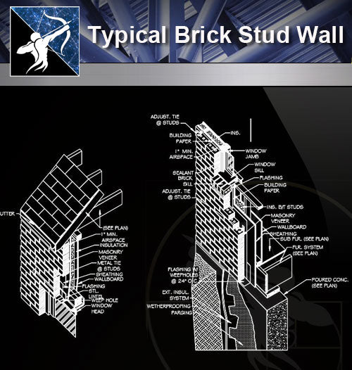 【Wall Details】Typical Brick Stud Wall - Architecture Autocad Blocks,CAD Details,CAD Drawings,3D Models,PSD,Vector,Sketchup Download