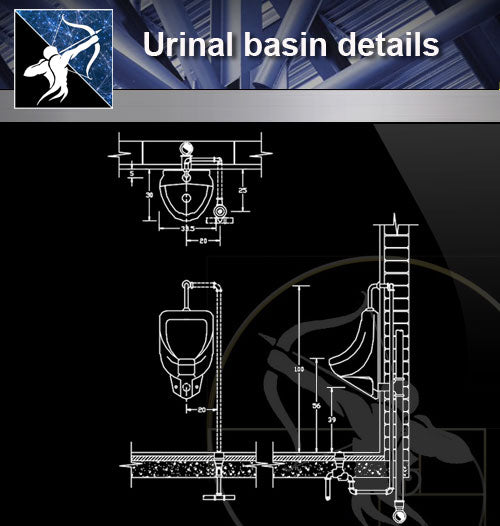 【Sanitations Details】Urinal basin details - Architecture Autocad Blocks,CAD Details,CAD Drawings,3D Models,PSD,Vector,Sketchup Download