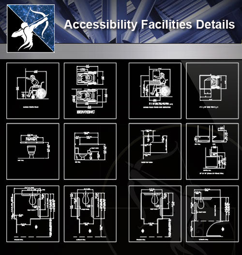 【Accessibility Facilities Details】Accessibility Facilities Details 1 - Architecture Autocad Blocks,CAD Details,CAD Drawings,3D Models,PSD,Vector,Sketchup Download