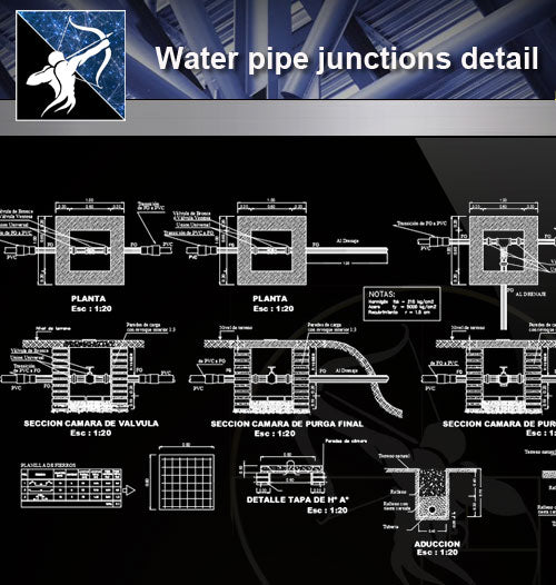 【Sanitations Details】Water pipe junctions detail - Architecture Autocad Blocks,CAD Details,CAD Drawings,3D Models,PSD,Vector,Sketchup Download