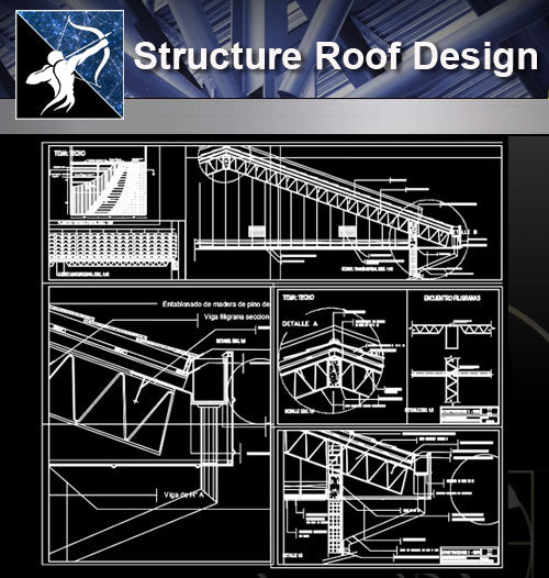 【Architecture Details】 Structure Roof Design - Architecture Autocad Blocks,CAD Details,CAD Drawings,3D Models,PSD,Vector,Sketchup Download