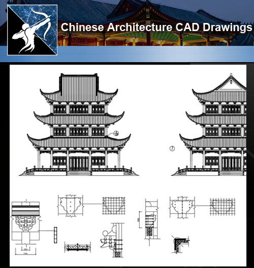 ★Chinese Architecture CAD Drawings-Chinese Tower - Architecture Autocad Blocks,CAD Details,CAD Drawings,3D Models,PSD,Vector,Sketchup Download