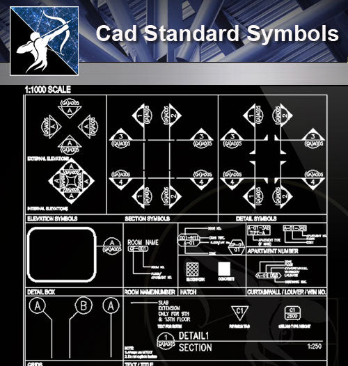 【Free Symbols CAD Blocks】Cad Standard Symbols - Architecture Autocad Blocks,CAD Details,CAD Drawings,3D Models,PSD,Vector,Sketchup Download